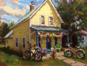 """SK15-01 Bikes and Flags 11"""" x 14"""" O-L $1,300 F WEB"""