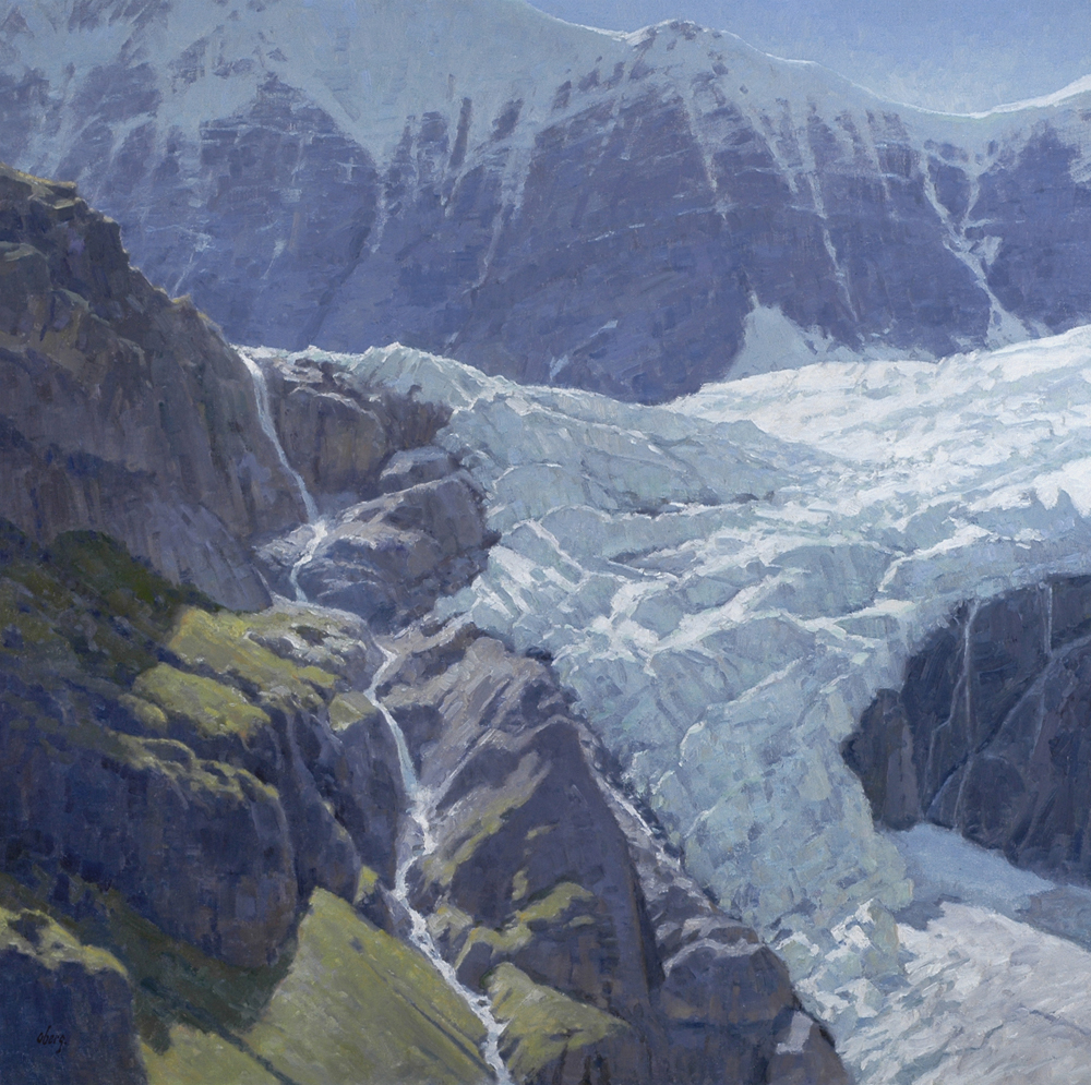 "Ice Fall, 42"" x 42"" oil on linen panel"