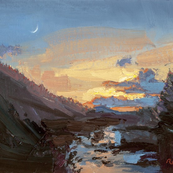 NR15-41 Moonset Over Tomichi Creek 8x10