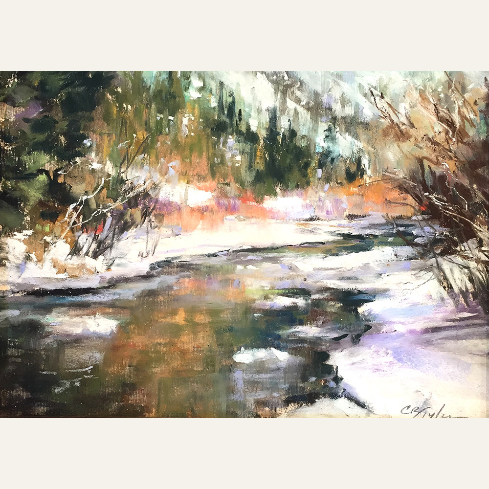 CT16-01 In Winter River 6x8 pastel $750 WEB