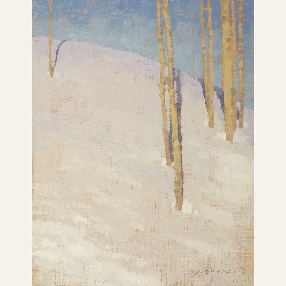 Aspen Trunks and Bright White Snow, 10x8 inches, oil on linen panel WEB