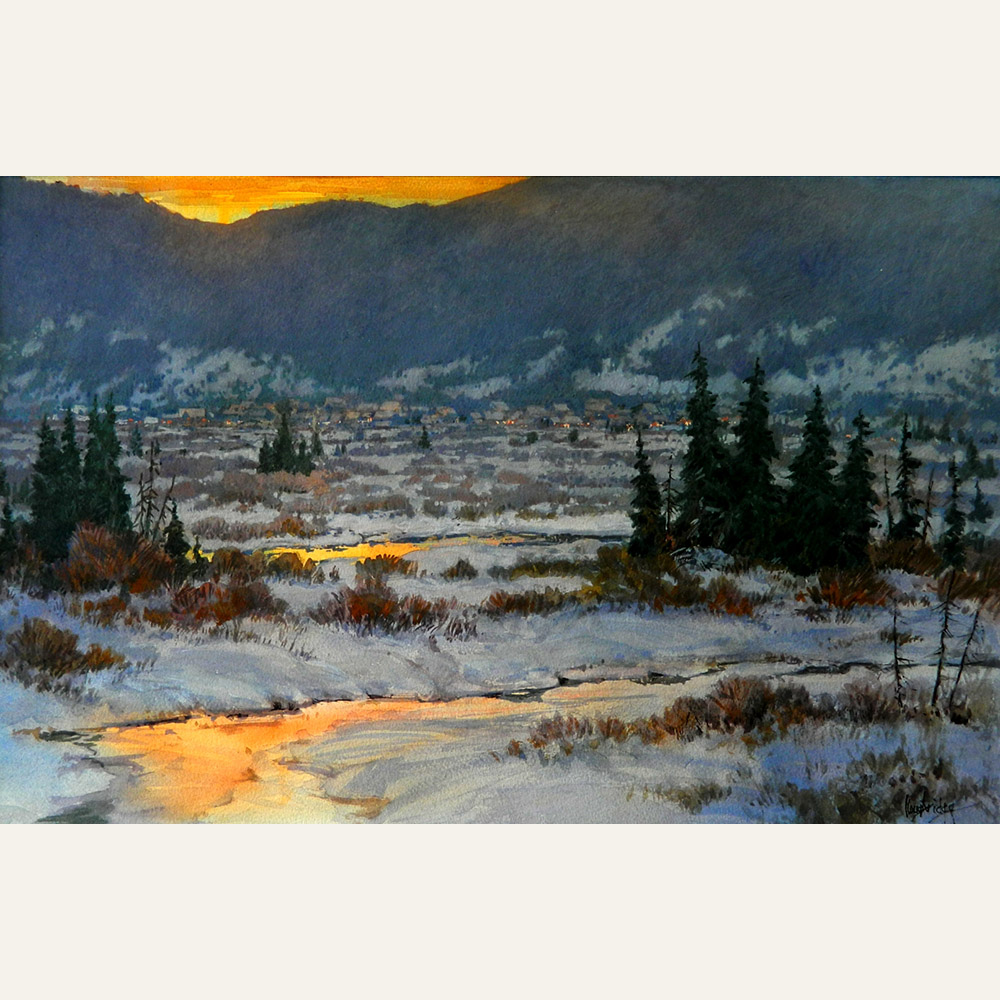 LL17-02 Sunset Over Crested Butte 13x21 wc 2,200 F