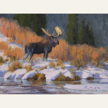 Bill Alther Creekside Encounter 9x12 $1400 copy